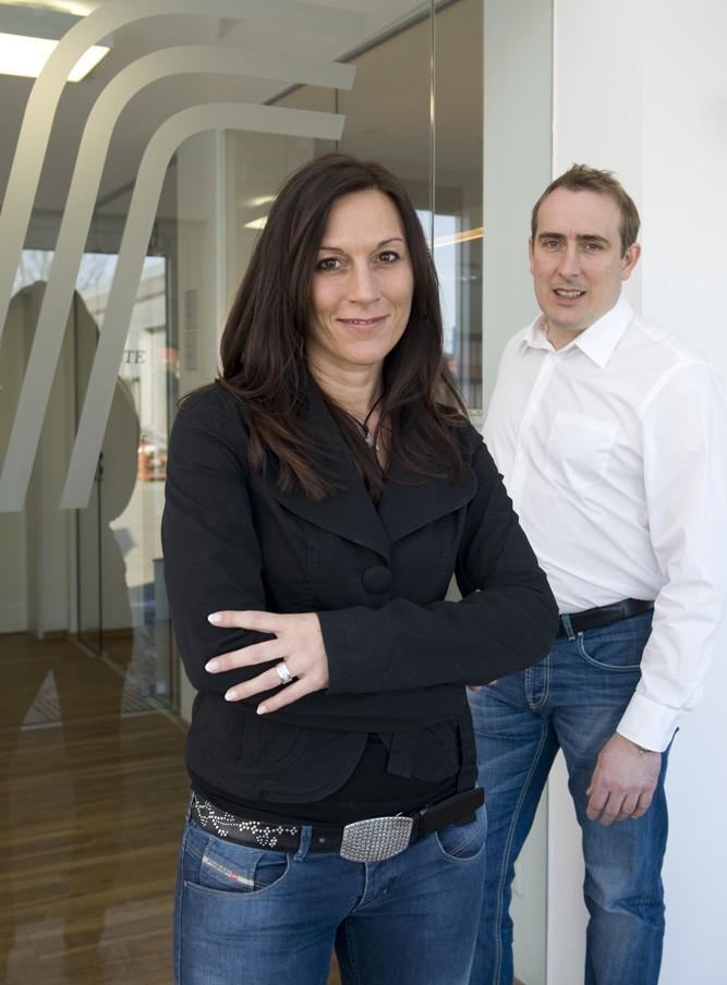 Lars und Corinna Feig sind Geschaeftsfuehrer der FEIG-Gerueste-GmbH.